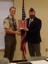 Presenting the Department of Texas Scout of the Year award to Hunter Beaton