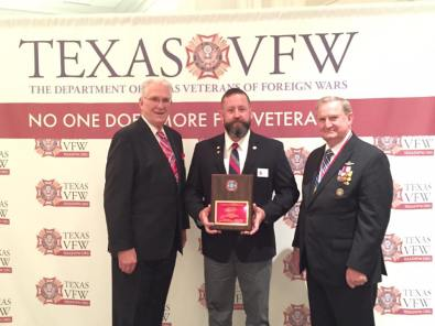VFW Post 688 Veteran Service Officer Ron Cortez for being the recipient of the VFW Department of Texas Veteran Service Officer of the Year Award! Post Commander Andrew Camplen accepted the award on Ron's behalf.