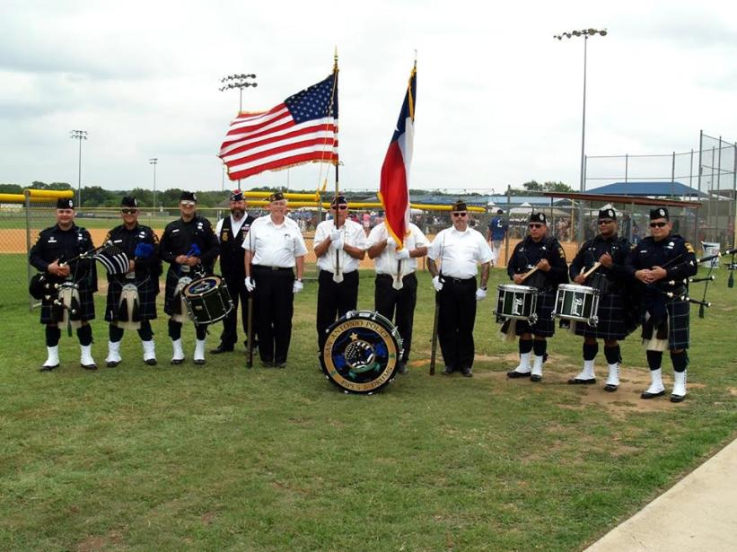 Presenting the Colors at the Law Enforcement Championship Softball Tournament joined by the San Antonio Police Pipes and Drums